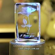 Сувенирная Роза в стекле 3D гравировка фото