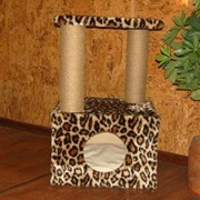 Когтеточка -домик искусственный мех, джут фото