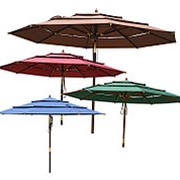 Зонт деревянный с блоковым механизмом и наклоном, d 3м (уДачная мебель) фото