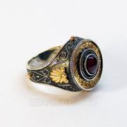 Перстень в греческом стиле с гранатом КСЗ 027 фото