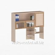 Надстройка для стола, Васко СОЛО-026 Корпус дуб молочный, фасад слива/дуб молочный/стекло фото