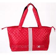 Стеганая сумка спортивная Adidas красная 15х28х41х26 BK702-703 /0-56