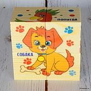 """Деревянные кубики """"Домашние животные"""", 4 элемента фото"""