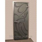 Межкомнатные двери в алюминиевой коробке-стекло бронза фото