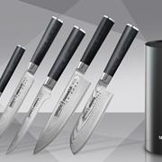 Набор из 5 кухонных стальных ножей Damascus и подставка фото
