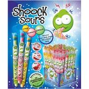 """Shock sours """"Драже-кислинка"""" - кисло-сладкое драже в пластиковой трубочкe, закупоренной горошиной-драже (зел. яблоко, клубника, апельсин) фото"""