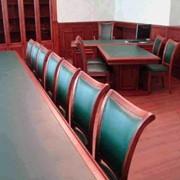 Конференц-стол с отделкой кожей фото