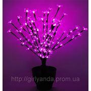 Светодиодный вазон «ЦВЕТУЩАЯ САКУРА» 60 см, розовый фото