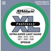 Струны для электрогитары D'Addario EPS530 XL Pro Steels Extra Super Light (6 струн .008-.038) фото