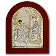 Благовещение Икона серебро с позолотой на деревянной рамке 55 х 70 мм фото