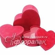 Коробка картонная цветная ККЦ (3шт) сердце (24/23/11-19/17/9)см фото