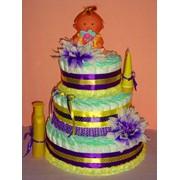 Торт из подгузников Huggies (78шт.) для мальчика фото