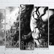 Модульна картина на полотні Незнайомка код КМ100150(132)-234-MIL фото