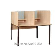 Стол для лингафонного кабинета со стеклом, круглая труба (СТЛ.01ст) фото