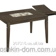 Стол обеденный Милан из натурального дерева и искусственного камня фото