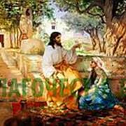 Храм Покрова Богородицы Христос у Марфы и Марии, икона на сусальном золоте (дерево 2 см с ковчегом) Высота иконы 9 см фото