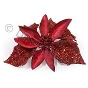 Декор Пуансеттия бархатная красная фото