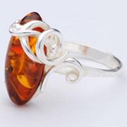 Кольцо с янтарем фото