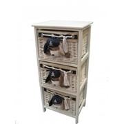 Комод Собачка в бандане белый с 3-мя ящиками, лоза, дерево, ткань (41*32*Н90) 8625 65401 фото