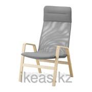 Кресло c высокой спинкой, березовый шпон, серый НОЛЬБИН фото