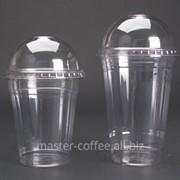 Стакан пластиковый для холодных напитков с купольной крышкой, 500 мл