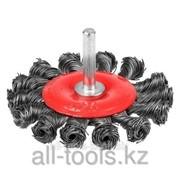 Щетка Stayer Master дисковая для дрели, плетёные пучки проволоки 0,5мм, 75мм Код:35115-075_z01 фото