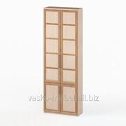 Шкаф книжный, Васко СОЛО 037 Корпус дуб молочный, фасад слива/дуб молочный фото