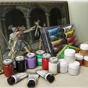 Краски для цветной гравюры, набор красок, краски. фото