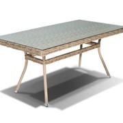 Плетеный стол со стеклом Латте СТ фото