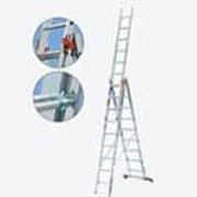 Универсальная алюминиевая трехсекционная лестница 3х10 ступеней Tribilo KRAUSE 120618 фото