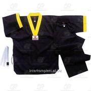 Униформа для тхэквондо черная, рост 140 фото