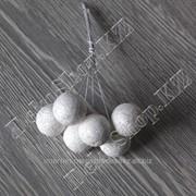 Букетик глиттерных шариков на проволоке, 6 штук, цвет Сверкающий белый фото