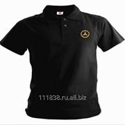 Рубашка поло Mercedes-Benz черная вышивка золото фото