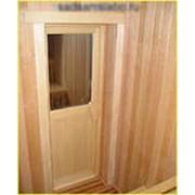 Дверь со стеклом (осина) фото
