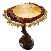 """Стол из дерева """"Солнечный круг"""" Камень янтарь. Ручная работа фото"""
