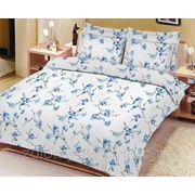 Ткань бязь сакура синяя фото
