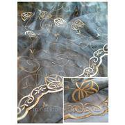 Тюль. арт. Серая вуаль с золотой вышивкой фото