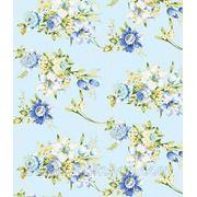 Ткань тик с цветами на голубом фоне фото