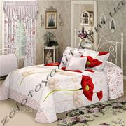 Ткань с красным маком для постельного белья фото
