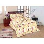 Ромашки с сердечками на ткани для пошива постельного белья фото