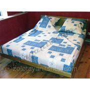 Абстракция синяя на ткани поликоттон фото
