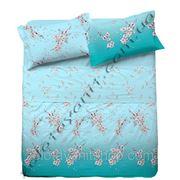 Домашний текстиль с сакурой голубой для постельного белья фото