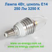 Светодиодная лампа с цоколем E14 4Вт 250 Люмен 4-LED 3250K (110~250В)