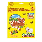 Набор для творчества Каляка-Маляка картина из пластилина КОТЕНОК восковый пластилин 12 цветов фото