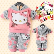 Одежда детская RETAIL baby 2piece suit set tracksuits Girl&#39-s Hello Kitty clothing sets velvet Sport suits hoody jackets +pants freeshipping, код 1076040412 фото
