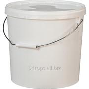 Ведро пластиковое 15 литров круглое с металлической ручкой с крышкой фото