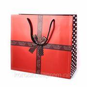 Подарочный пакет с атласным бантом большой 32574 фото