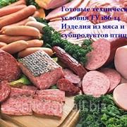 Готовые технические условия ТУ 186-14 Изделия из мяса и субпродуктов птицы фото