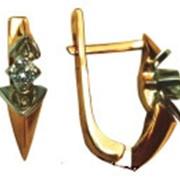 Серьги золотые с бриллиантами артикул 21082 фото