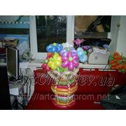 Корзина цветов из воздушных шаров. фото